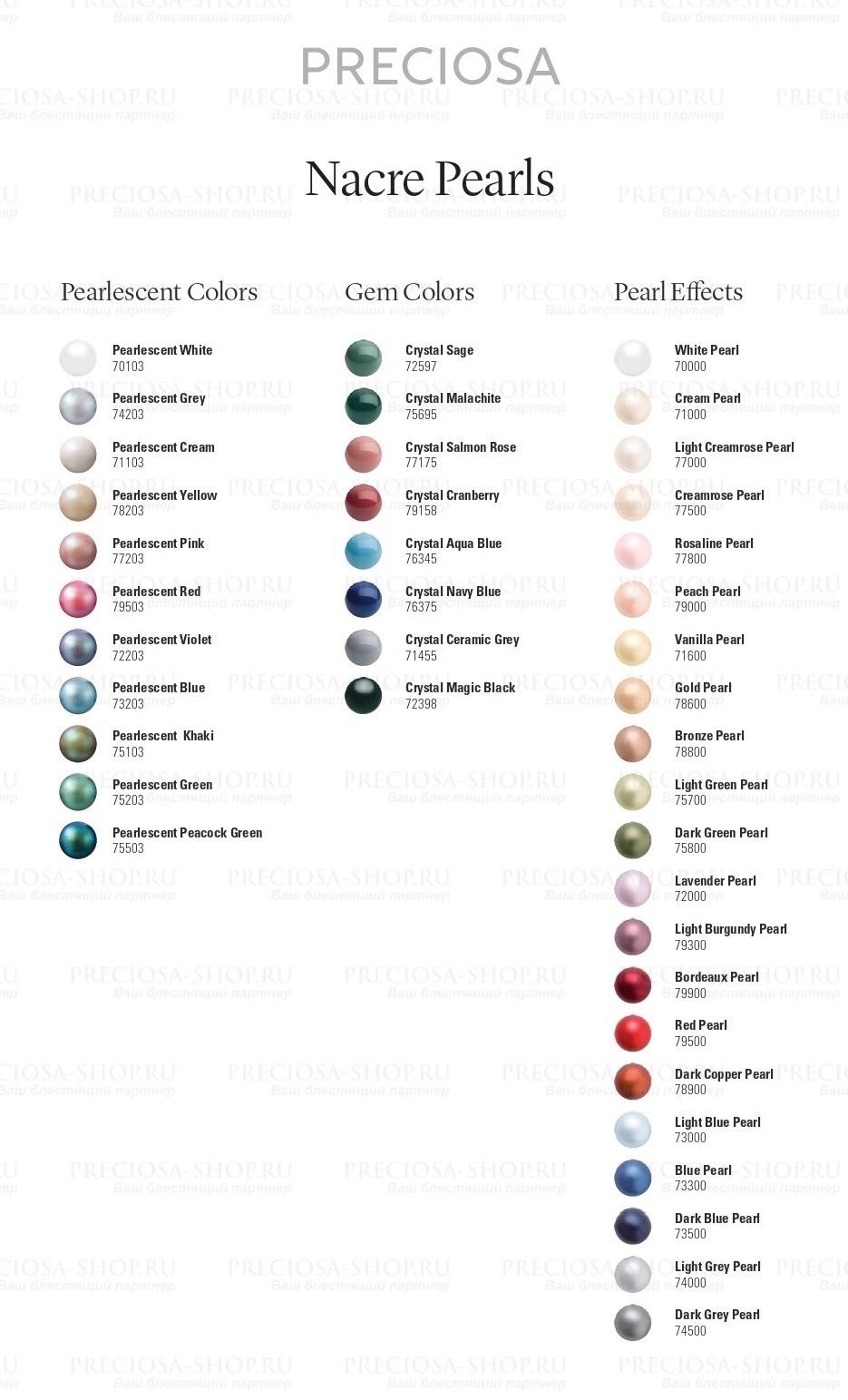 Карта цветов хрустального жемчуга Preciosa Components