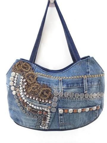 Декор на джинсовых сумках