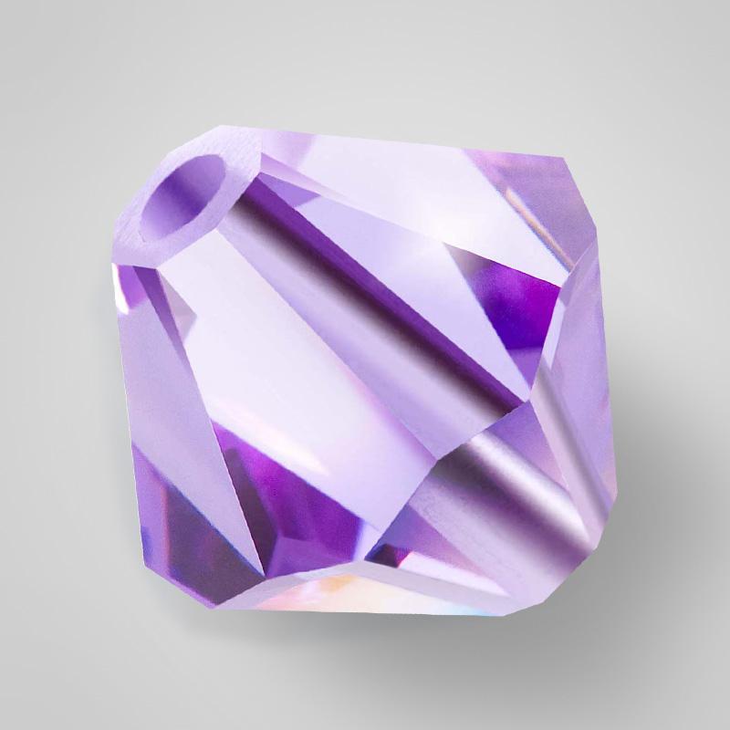 Хрустальные бусины - Биконусы - - 4mm - - (в одной упаковке 720 шт.) - - violet AB